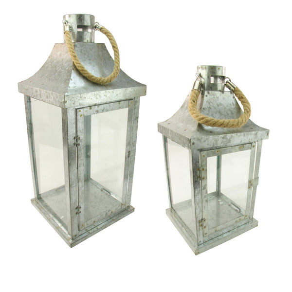 "Set of 2 Industrial Flecked Metal and Glass Paneled Nesting Pillar Candle Lanterns 14""-22"", XF36674"