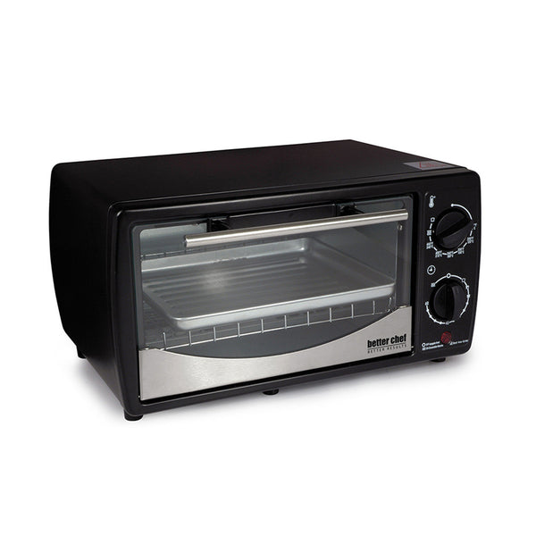 Better Chef 9 Liter Toaster Oven Broiler- Black With Stainless Steel Front