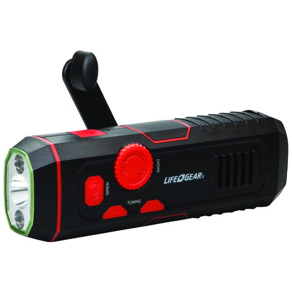 LifeGear 120-Lumen Stormproof USB Crank Flashlight & Radio - LG3860675