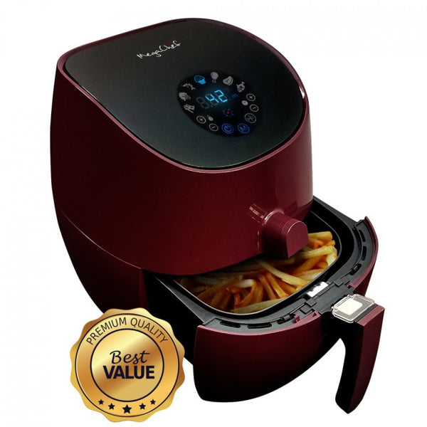 MegaChef 3.5 Quart Airfryer And Multicooker With 7 Pre-programmed Settings in Burgundy - MCAI-307