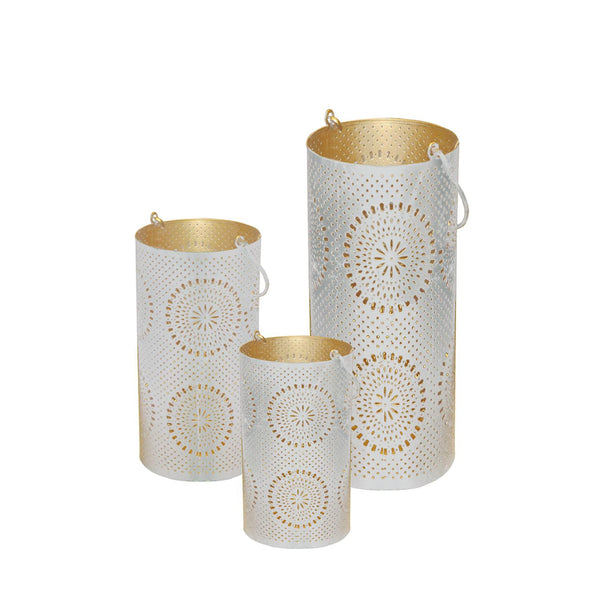 "Set of 3 Distressed White and Gold Decorative Floral Cut-Out Pillar Candle Lanterns 12.5"", RV14298"
