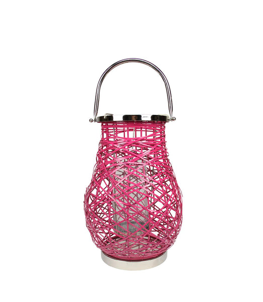"13.5"" Modern Fuschia Pink Decorative Woven Iron Pillar Candle Lantern with Glass Hurricane"