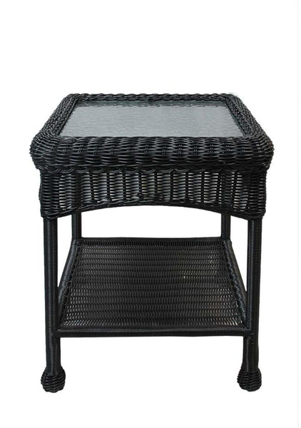 "22"" Black Resin Wicker Outdoor Patio Side Table with Glass Top and Storage Shelf, BOI-95918GSTBK"