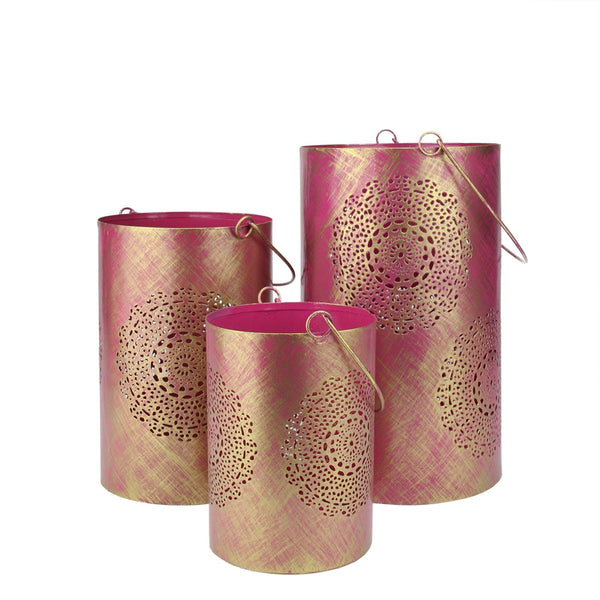 "Set of 3 Fuschia Pink and Gold Decorative Floral Cut-Out Pillar Candle Lanterns 10"", RV14263"