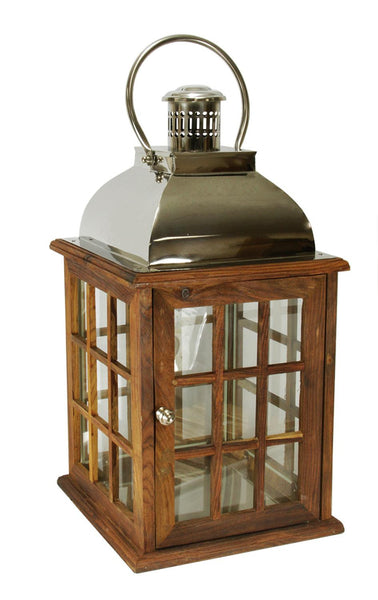 "30"" Oversized Modern Sheesham Wood Candle Lantern with Silver Metal Handle, KSD 556200"