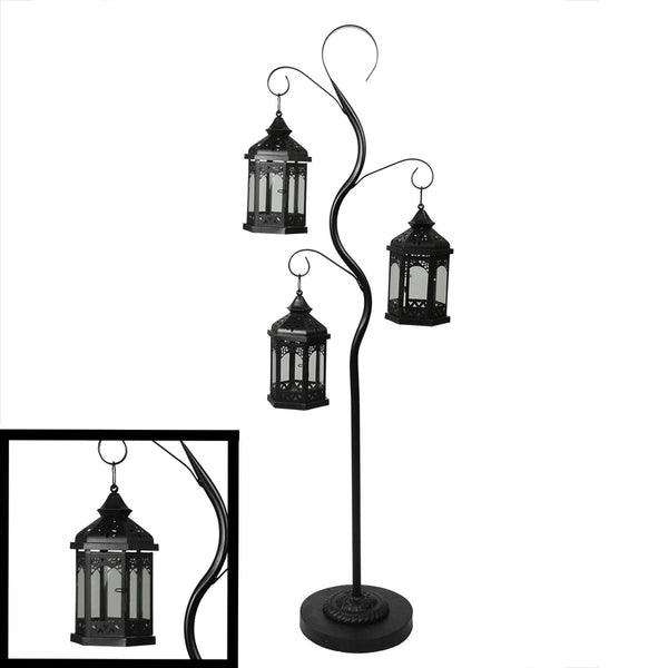 "51"" Rustic Black Pillar Candle Holder Tree with 3 Decorative Lanterns, XF78542"