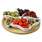 Elama Signature Modern 10.75 Inch 7pc Lazy Susan Appetizer and Condiment Server Set