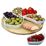 Elama Signature Modern 13.5 Inch 7pc Lazy Susan Appetizer and Condiment Server Set