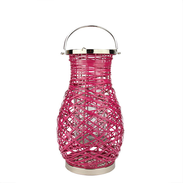 "16.25"" Modern Fuschia Pink Decorative Woven Iron Pillar Candle Lantern with Glass Hurricane"