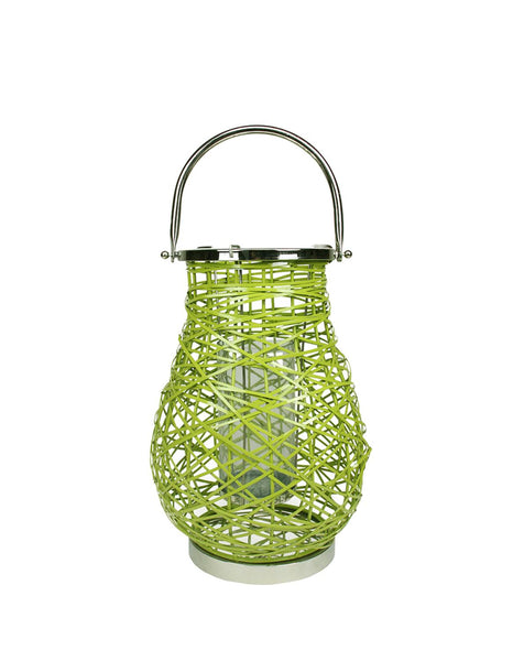 "16.25"" Modern Green Decorative Woven Iron Pillar Candle Lantern with Glass Hurricane"