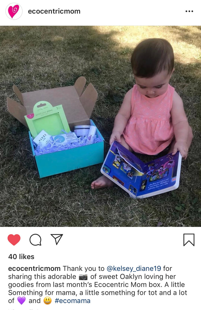 customer testimonial ecocentric moms subscription box ideas baby cute girl gentle safe non-toxic bath and body products
