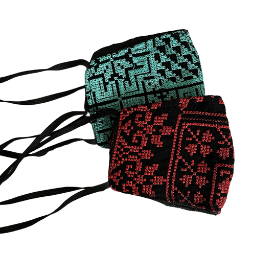 Youth Sized Palestinian Embroidered Masks (Set of Two)