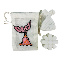 Mermaid Tail Soap Set with Embroidered Set
