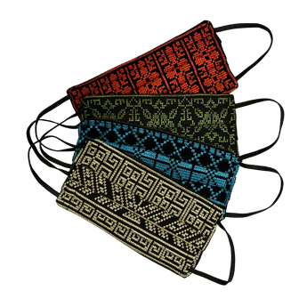 4-Pack of Palestinian Embroidery Masks (Red, Green, Blue, Gold).
