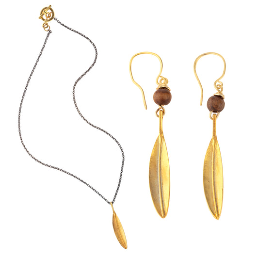 Gold Dipped Olive Leaf Necklace and Earrings Combo Set