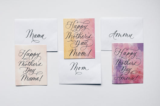 Hand-Calligraphy Written Card: Happy Mother's Day.