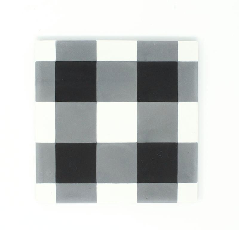"Black Checker 8""x8"" Handmade Cement Tile"