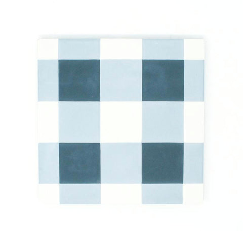 "Blue Checker 8""x8"" Handmade Cement Tile"