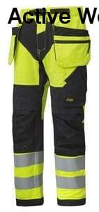 Snickers FlexiWork High Vis Work Trousers Holster Pockets Class 2 - 6932 - snickers-online