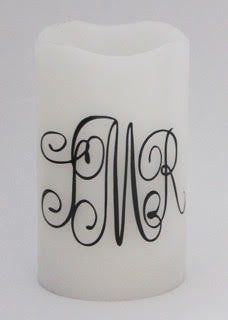 Monogrammed Flameless Candle with Timer