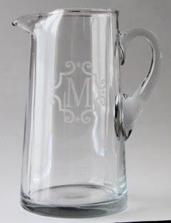 Glass Etched Initial Pitcher
