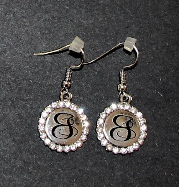 Silver Rhinestone Disc Hanging Earrings