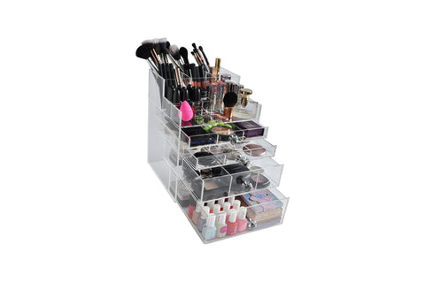 Clear Acrylic Makeup Organizer Drawer Box with Makeup Brush Holder for Makeup Vanity – BeautyFill