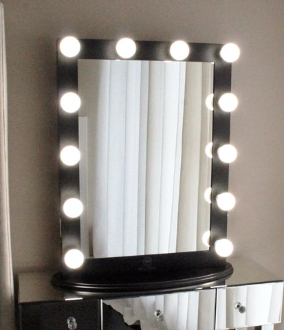 Hollywood Makeup Vanity Mirror Black With Dimmer, Tabletop Or Wall Mounted  Vanity, LED Bulbs