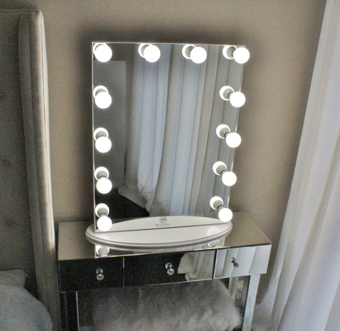 Hollywood Makeup Vanity Mirror All Glass With Dimmer Tabletop Or