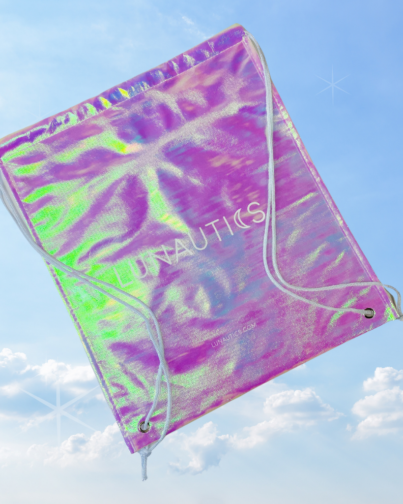 Iridescent Drawstring Logo Bag