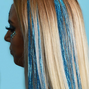 Blue Holographic Hair Tinsel - Peace