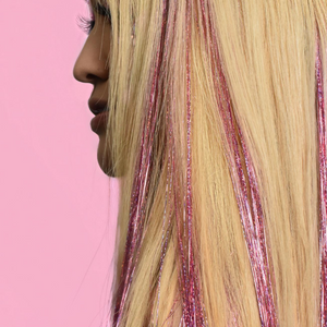 Pink Holographic Hair Tinsel - Love