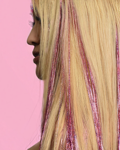 Pink Holographic Hair Tinsel - Love | Lunautics