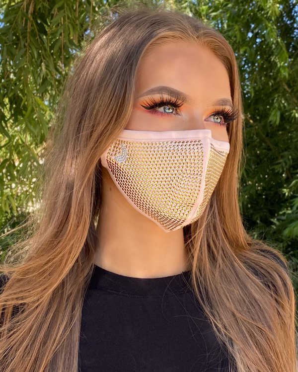Studded Mask - Peach Face Mask with Rose Gold Studs