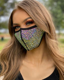 Black Face Mask with Iridescent Rhinestones - Lunautics