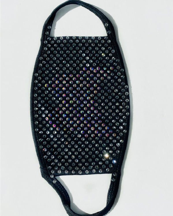 Bling Face Cover - Black with Iridescent Butterfly and Silver/Clear Rhinestones
