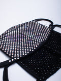 Rhinestone Face Cover Set - Butterfly/Silver + Black/Black - Lunautics