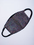 Black Seamless Bling Face Mask with Iridescent Rhinestones | Lunautics