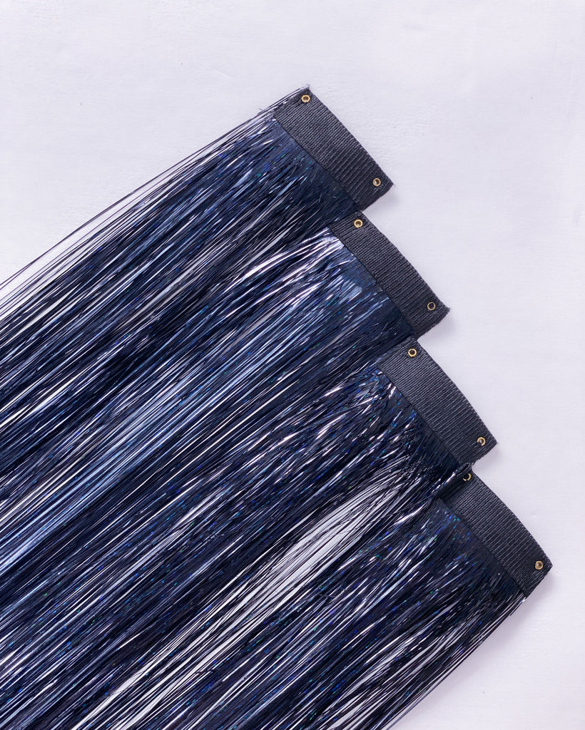 Raven Tinsel Hair Extensions
