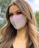 Face Mask Set - Pink Rhinestone Face Mask + White/Purple Rhinestone Face Cover - Lunautics