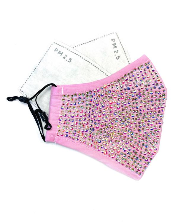 Bling Mask - Pink Face Mask with Iridescent Rhinestones