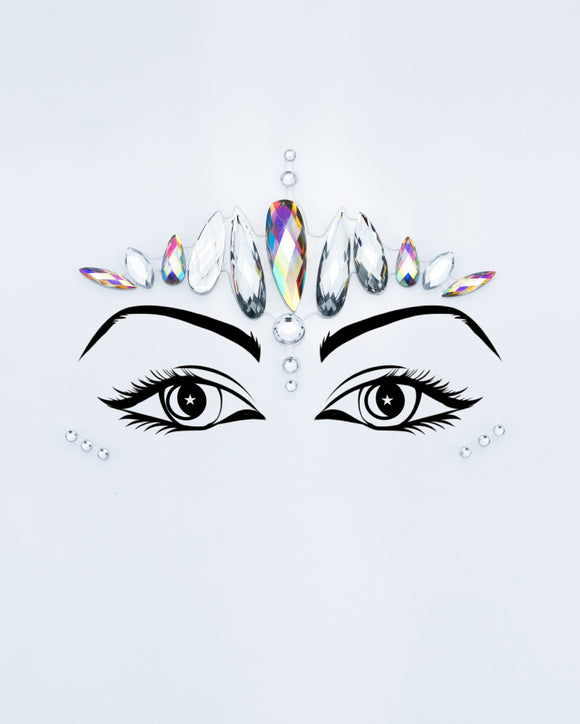 Silver Holographic Face Jewel - Princess