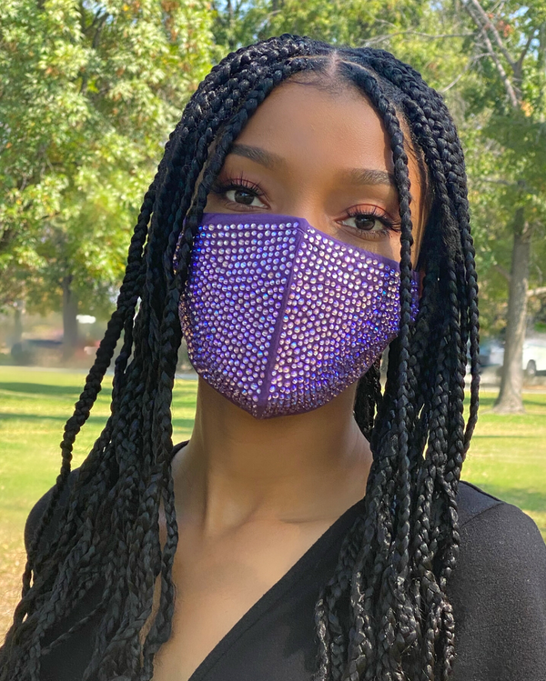 Bling Mask - Purple Face Mask with Iridescent Rhinestones