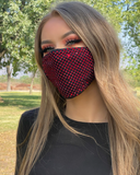 Black Seamless Face Mask with Red Rhinestones - Lunautics