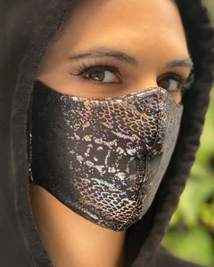 Black Iridescent Snakeskin Face Mask