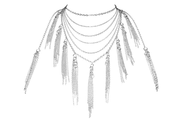 Lalita Bespoke Silver Tassel Necklace with Accent