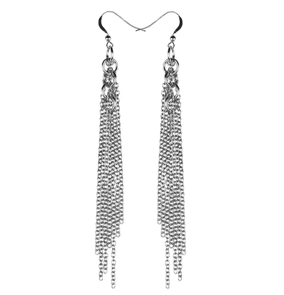 Sterling Circle Fringe Earrings