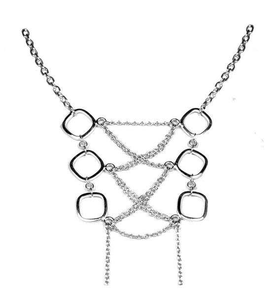 Sterling Silver Corset Necklace Front View