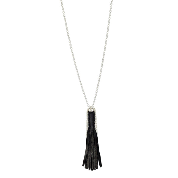 Leather and Sterling Tassel Necklace
