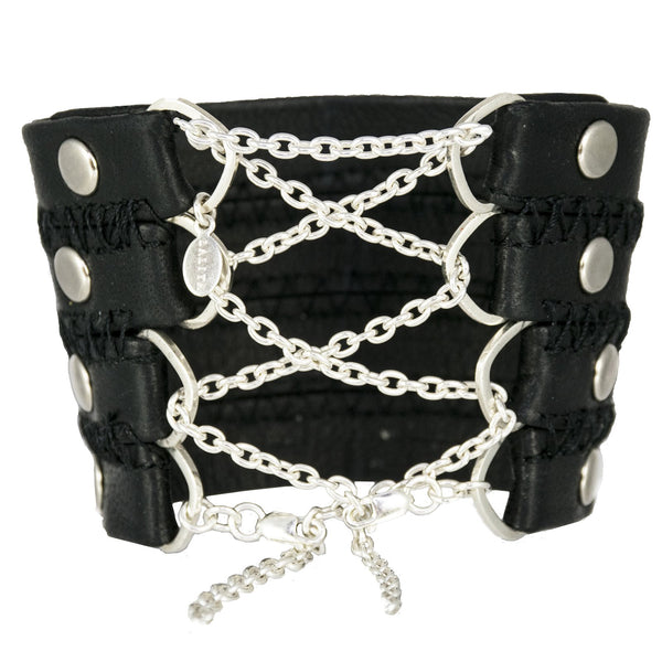 Stitched Leather Corset Cuff with Sterling Chain